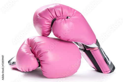 Fotobehang Vechtsporten Pair of pink boxing gloves isolated on white