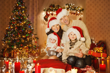 Christmas Family Portrait In Home Holiday Xmas Room