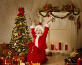 Christmas Kid Boy In Santa Hat And Bag, Child Happy Celebrate