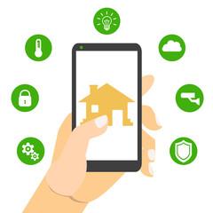 Smart house technology. Vector illustration concept.