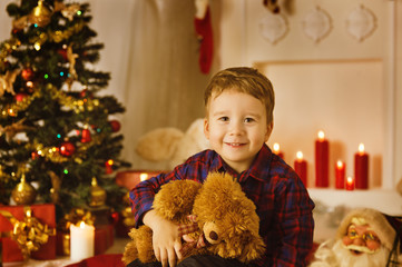 Christmas Kid Boy Portrait, Present Gift Toy, Xmas Tree in Room