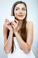 Beauty girl with face, body cream.