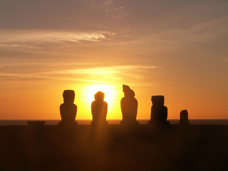 Moai Sunset Silhouette