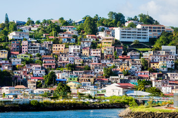 Many Colored Homes up Hill on Martinique