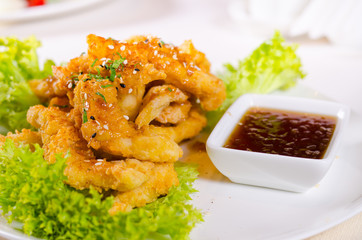 Gourmet Fried Chicken Meat with Hot Dip