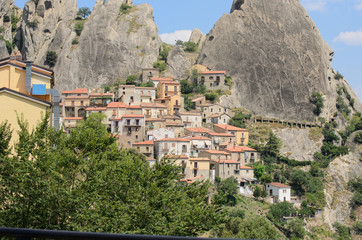 Castelmezzano view with trees and mountains
