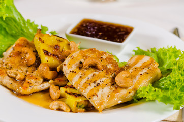 Pineapple Cashew Chicken Dish Served in Restaurant