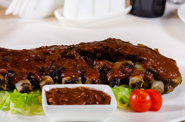Rack of Saucy Barbecue Pork Ribs