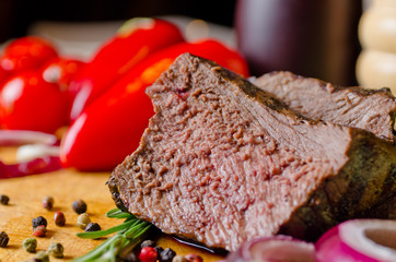 Tender succulent slice of roast beef