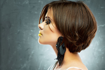 bob haircut. profile view. beauty face . short hair