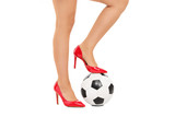 Girl with football under her foot