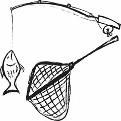 doodle Fishing rod, hooked fish and fishing net