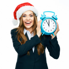 smiling business woman black suit dressed hold watch. Santa Chr