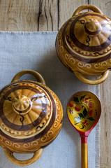 ceramic pots  wooden spoon