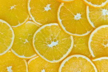 Fondo de círculos de naranjas frescas