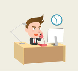 Funny flat character call business concept