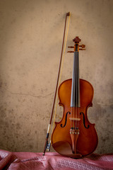 still life with vintage violin left space