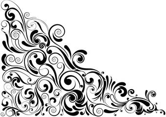 Swirl floral black corner