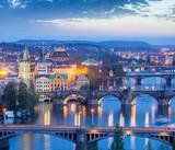 Panoramic view of Prague bridges over Vltava river - 72863432