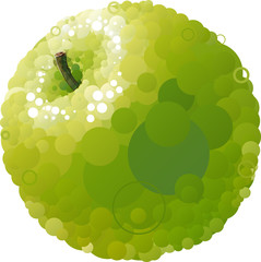 Vector green apple that consists of circles
