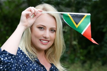 Beutiful Woman with South African Flag