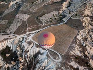 Cappadocia, Turkey. , the flight with the balloon at sunrise