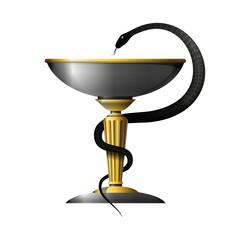 Medicine snake symbol metal gold and silver
