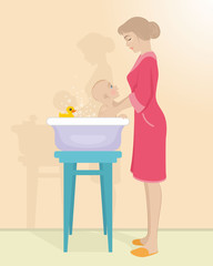 Mother bathes the child