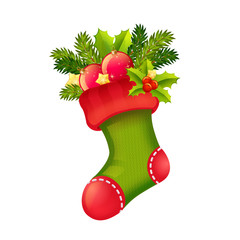 Cute Christmas realistic stocking full of presents isolated
