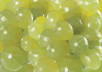 Green grape background. Low-poly triangular style illustration