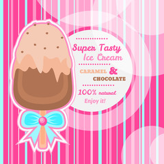 Tasty Chocolate and Caramel Ice Cream background with text space