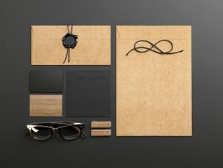 branding elements on dark paper background