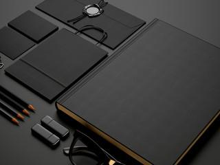 Set of black elements on black paper background
