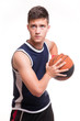 Basketball player with the ball on white background