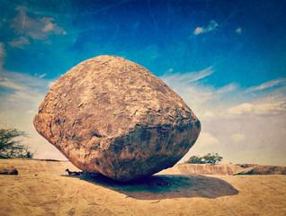 Krishna's butterball -  balancing giant natural rock stone