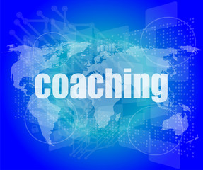 coaching word on touch screen, modern virtual
