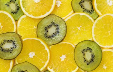 Fondo de circulos de frutos tropicales frescos