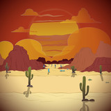 Beautiful sunset in a western landscape with cactus