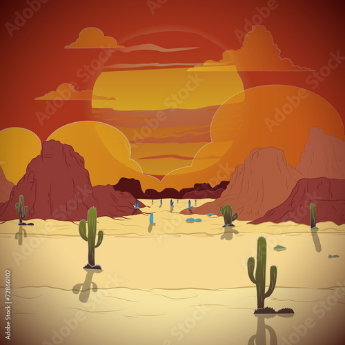 Beautiful sunset in a western landscape with cactus - 72866802