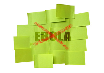 stop EBOLA on sticky note isolate on white background