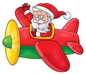 Santa Claus in plane theme image 1