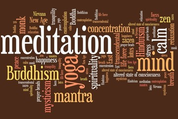 Meditation concept. Word cloud illustration.