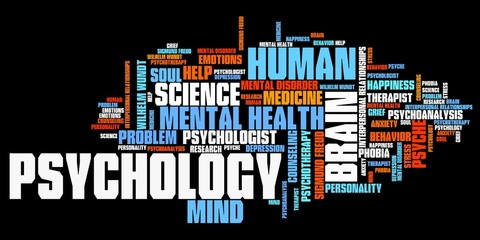 Psychology. Word cloud illustration.