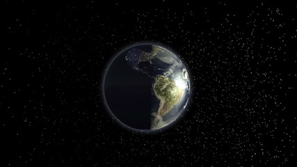 Planet Earth rotating animation focus europe