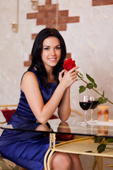 Young happy girl smile with red rose gift
