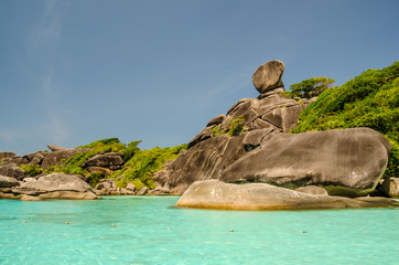 Similan Island Landmark on the colorful sea