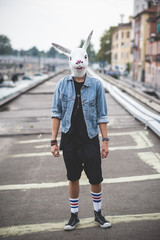 rabbit mask young handsome bearded hipster man