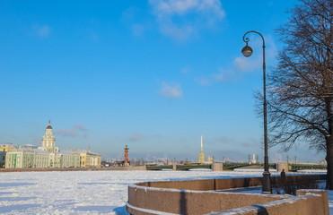 View of  Spit of Vasilievsky Island in Saint Petersburg