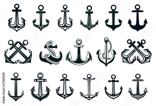 Heraldic set of ships anchor icons - 72869241