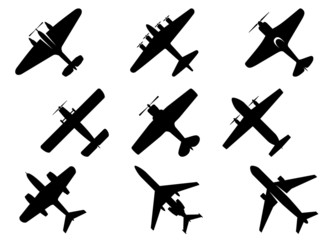 Black aircraft silhouette icons